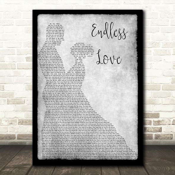 Lionel Richie & Mariah Carey Endless Love Man Lady Dancing Grey Song Lyric Print