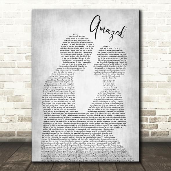 Lonestar Amazed Grey Song Lyric Man Lady Bride Groom Wedding Print