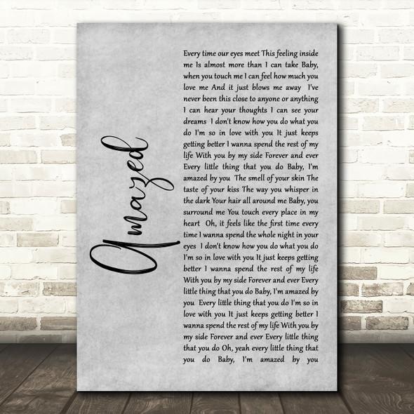 Lonestar Amazed Rustic Script Grey Song Lyric Quote Print