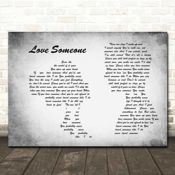 Lukas Graham Love Someone Man Lady Couple Grey Song Lyric Print