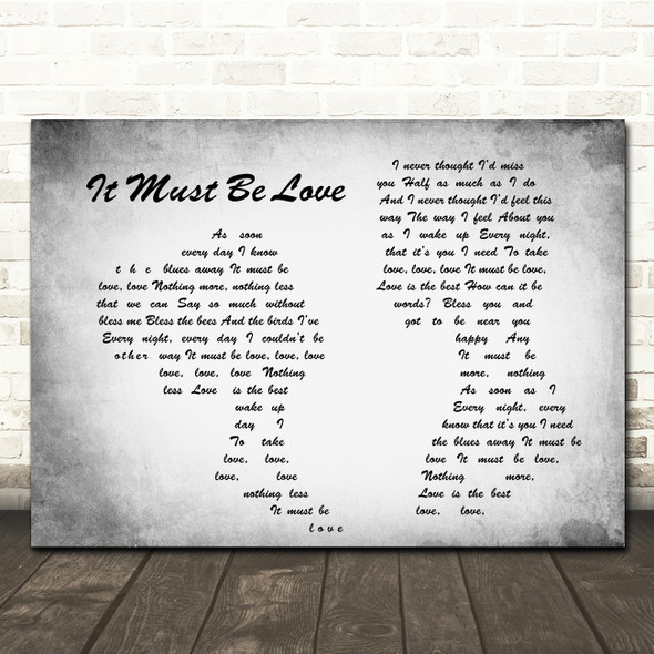Madness It Must Be Love Man Lady Couple Grey Song Lyric Quote Print