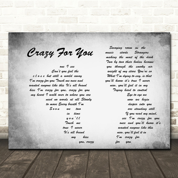 Madonna Crazy For You Man Lady Couple Grey Song Lyric Quote Print
