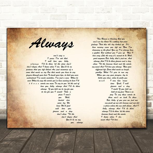 Bon Jovi Always Man Lady Couple Song Lyric Quote Print