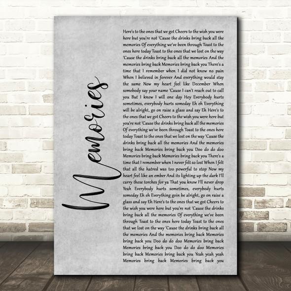 Maroon 5 Memories Grey Rustic Script Song Lyric Print