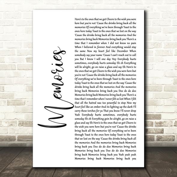 Maroon 5 Memories White Script Song Lyric Print