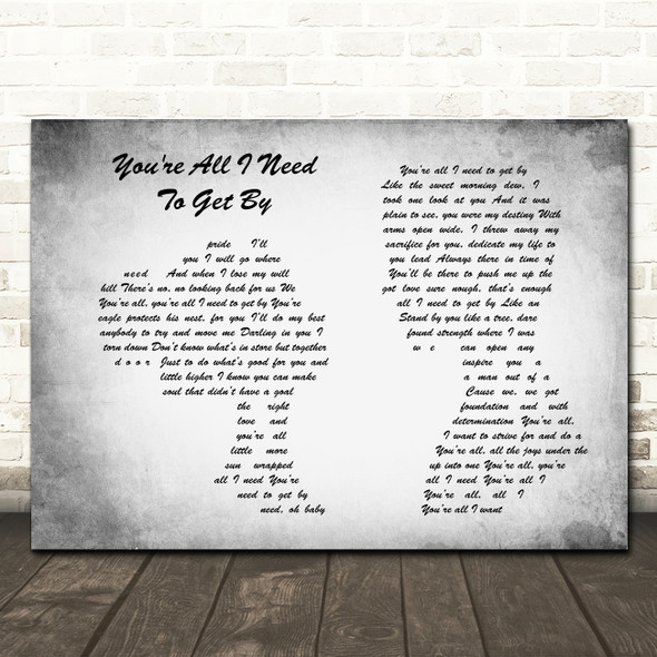 Marvin Gaye & Tammi Terrell You're All I Need To Get By Couple Grey Song Print