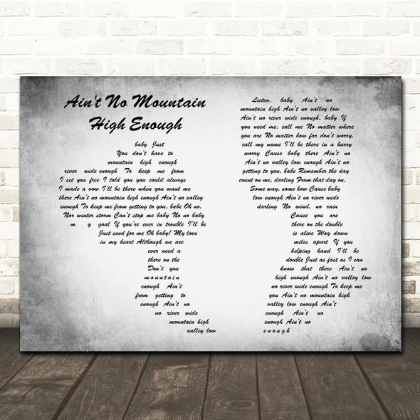 Marvin Gaye Ain't No Mountain High Enough Man Lady Couple Grey Song Lyric Print