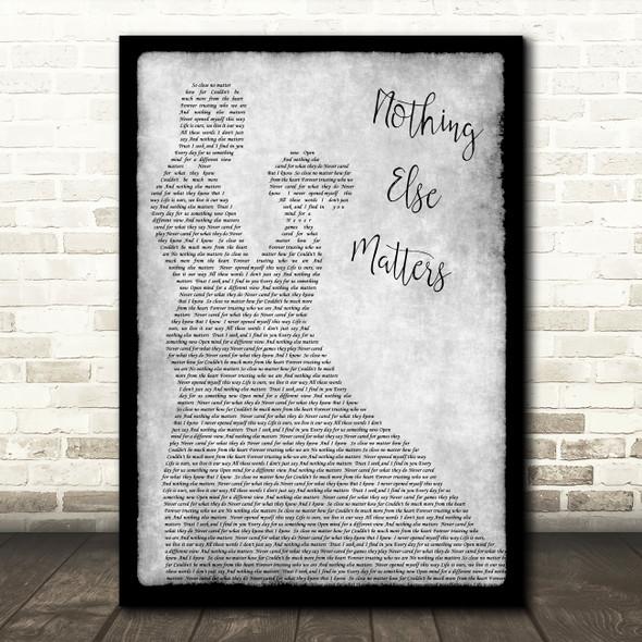 Metallica Nothing Else Matters Grey Song Lyric Man Lady Dancing Quote Print