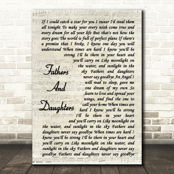 Michael Bolton Fathers And Daughters (Never Say Goodbye) Vintage Script Print