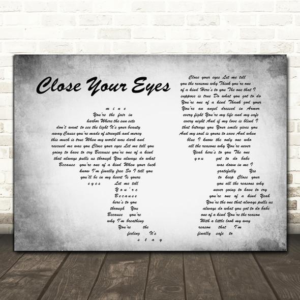 Michael Bublé Close Your Eyes Grey Man Lady Couple Song Lyric Print