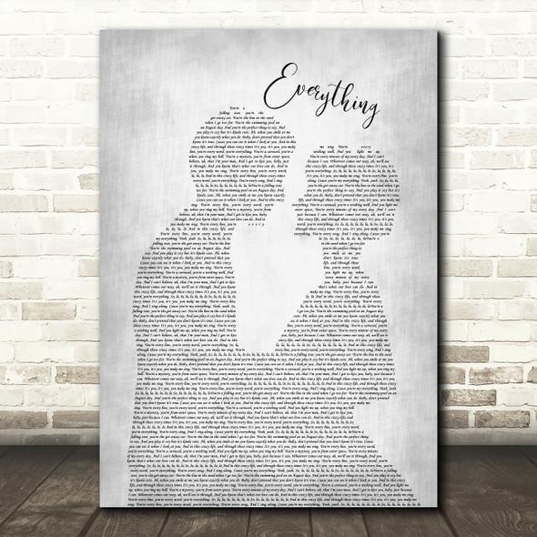 Michael Buble Everything Man Lady Bride Groom Wedding Grey Song Lyric Print