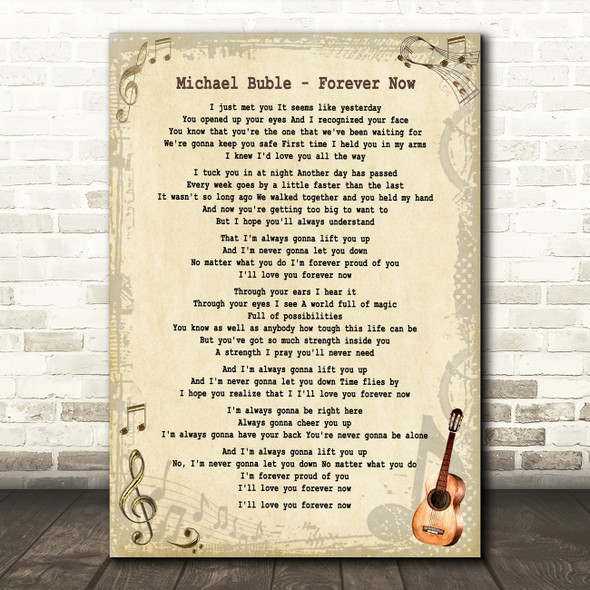 Michael Buble Forever Now Vintage Guitar Song Lyric Print