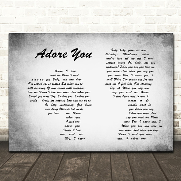 Miley Cyrus Adore You Man Lady Couple Grey Song Lyric Quote Print