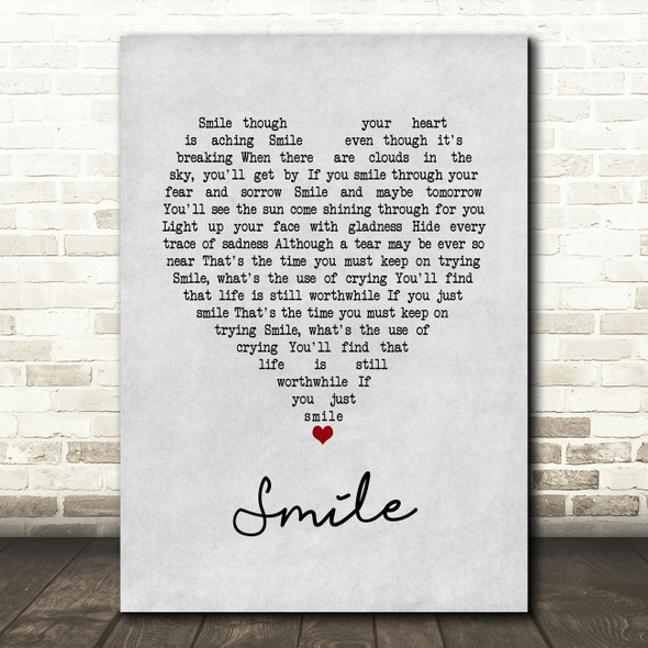 Nat King Cole Smile Grey Heart Song Lyric Print