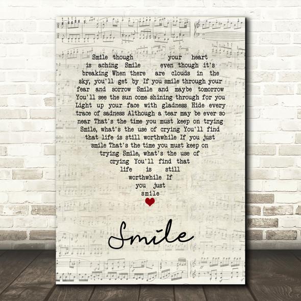 Nat King Cole Smile Script Heart Song Lyric Print
