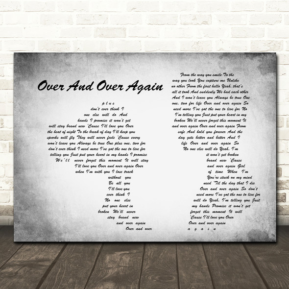 Nathan Sykes Over And Over Again Man Lady Couple Grey Song Lyric Quote Print