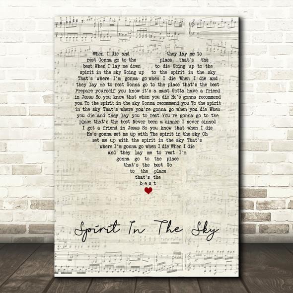 Norman Greenbaum Spirit In The Sky Script Heart Song Lyric Print