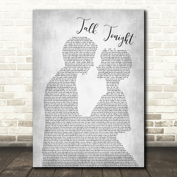 Oasis Talk Tonight Man Lady Bride Groom Wedding Grey Song Lyric Quote Print