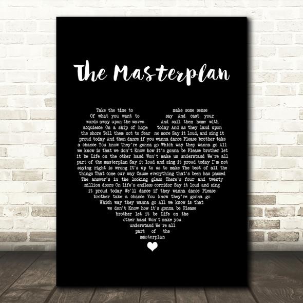 Oasis The Masterplan Black Heart Song Lyric Print