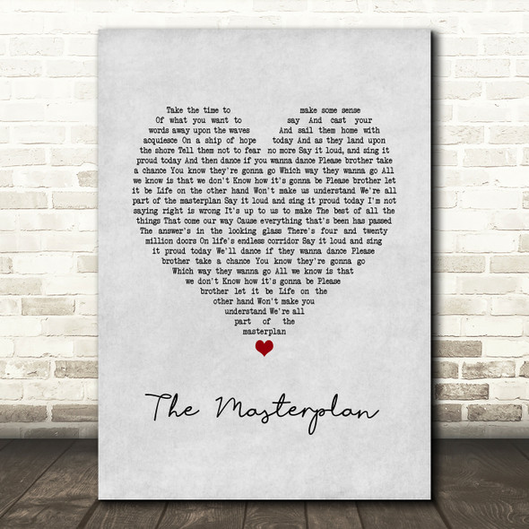 Oasis The Masterplan Grey Heart Song Lyric Print