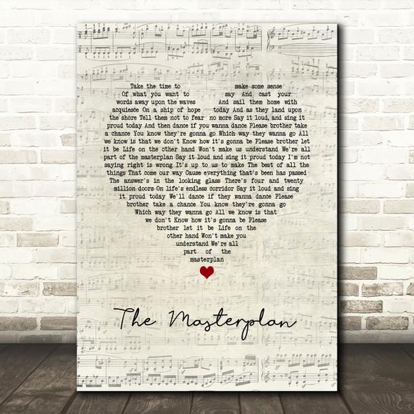 Oasis The Masterplan Script Heart Song Lyric Print