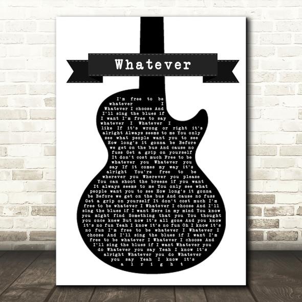 Oasis Whatever Black & White Guitar Song Lyric Print