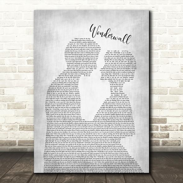 Oasis Wonderwall Man Lady Bride Groom Wedding Grey Song Lyric Quote Print