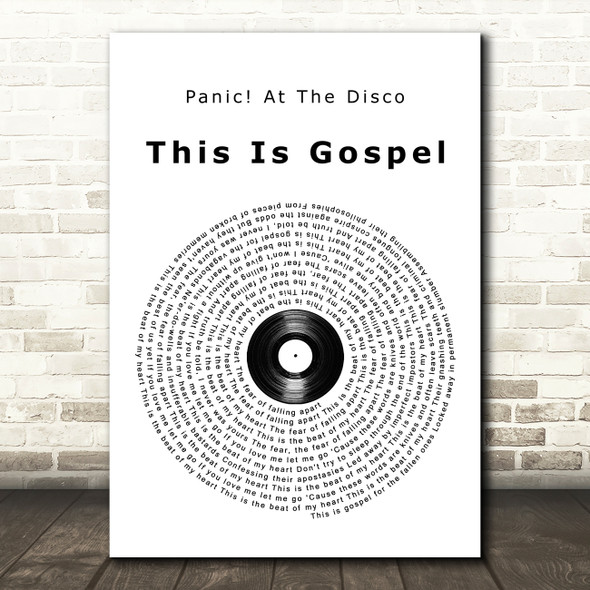 Panic At The Disco This Is Gospel Vinyl Record Song Lyric Print