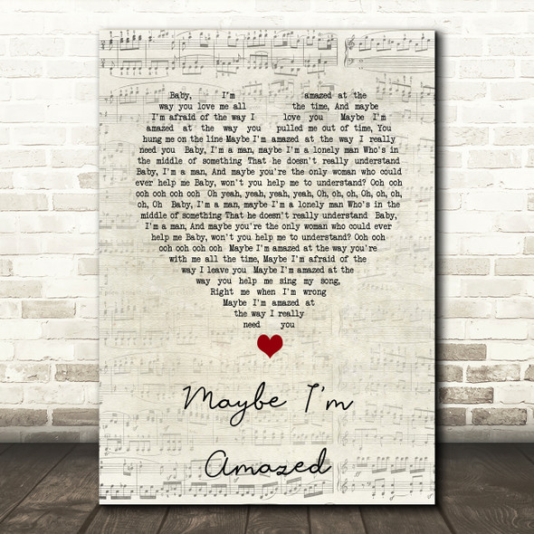 Paul McCartney Maybe I'm Amazed Script Heart Song Lyric Print