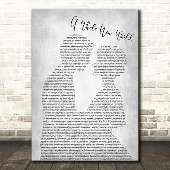 Peabo Bryson & Regina Belle A Whole New World Man Lady Bride Grey Song Print