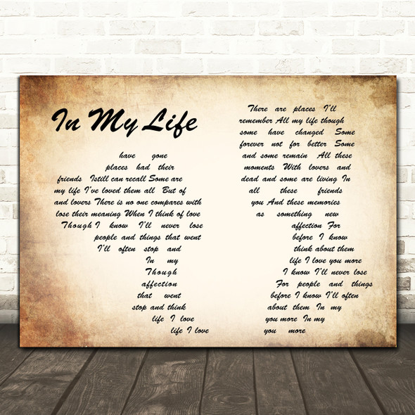 The Beatles In my life Man Lady Couple Song Lyric Quote Print