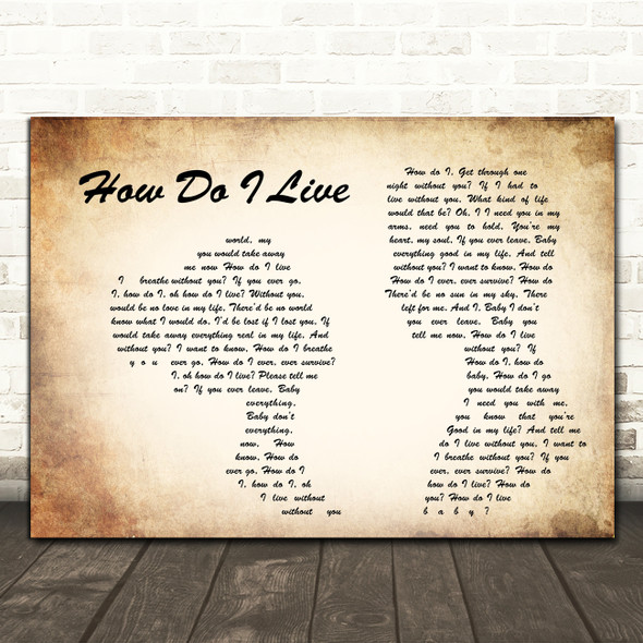 LeAnn Rimes How Do I Live Man Lady Couple Song Lyric Quote Print