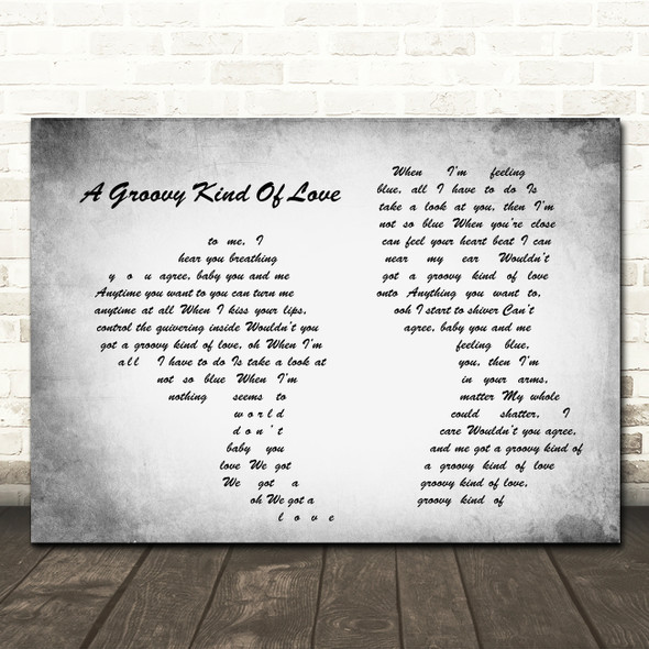 Phil Collins A Groovy Kind Of Love Man Lady Couple Grey Song Lyric Quote Print