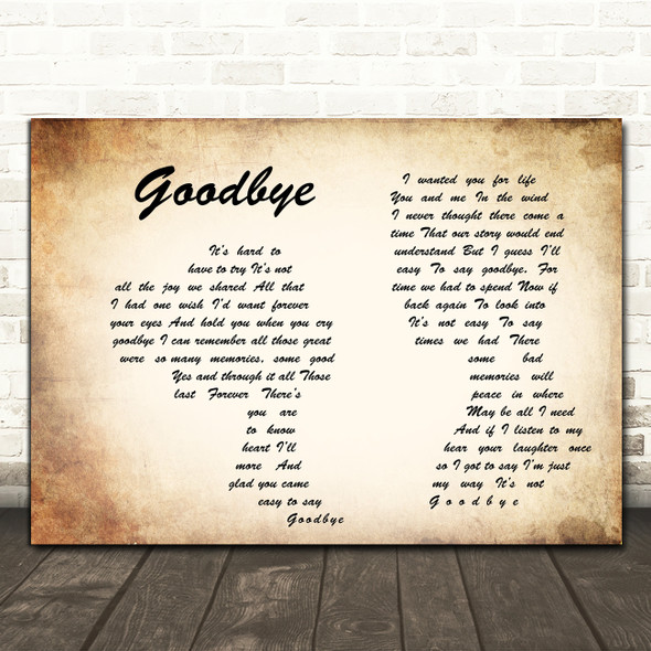 Lionel Richie Goodbye Man Lady Couple Song Lyric Quote Print