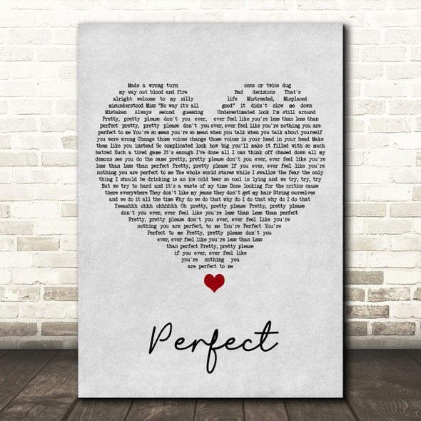 Pink Perfect (Clean Edition) Grey Heart Song Lyric Print