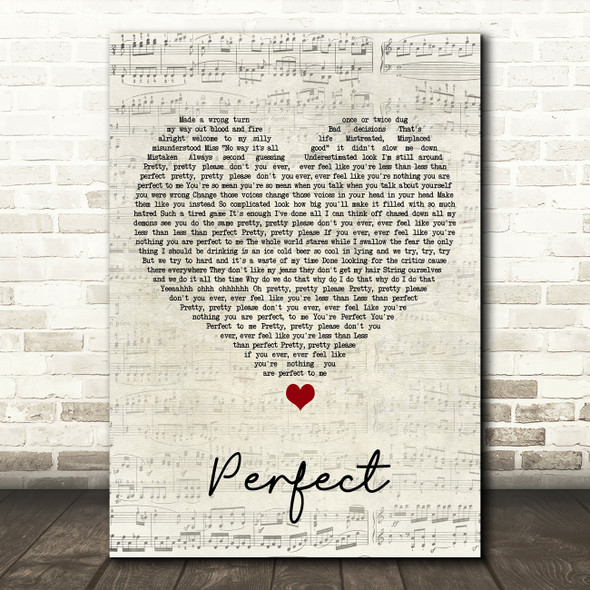 Pink Perfect (Clean Edition) Script Heart Song Lyric Print