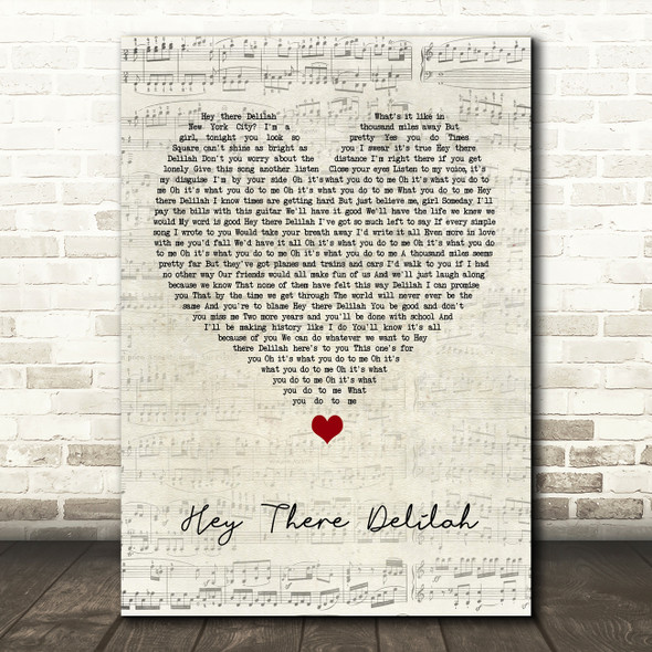 Plain White T's Hey There Delilah Script Heart Song Lyric Print