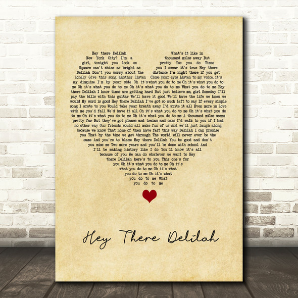 Plain White T's Hey There Delilah Vintage Heart Song Lyric Print