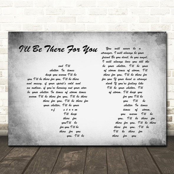 Primal Scream I'll Be There For You Man Lady Couple Grey Song Lyric Print