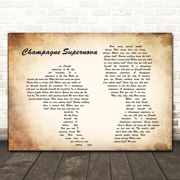 Oasis Champagne Supernova Man Lady Couple Song Lyric Quote Print