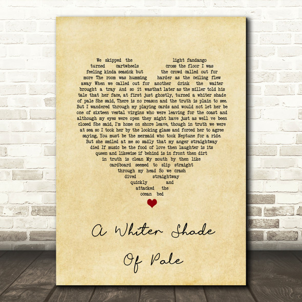 Procol Harum A Whiter Shade Of Pale Vintage Heart Song Lyric Print