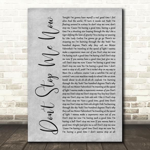 Queen Don't Stop Me Now Rustic Script Grey Song Lyric Quote Print