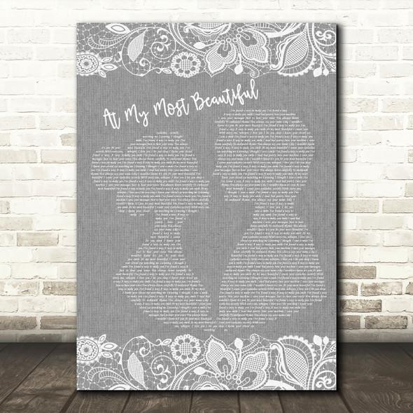 R.E.M. At My Most Beautiful Burlap & Lace Grey Song Lyric Print