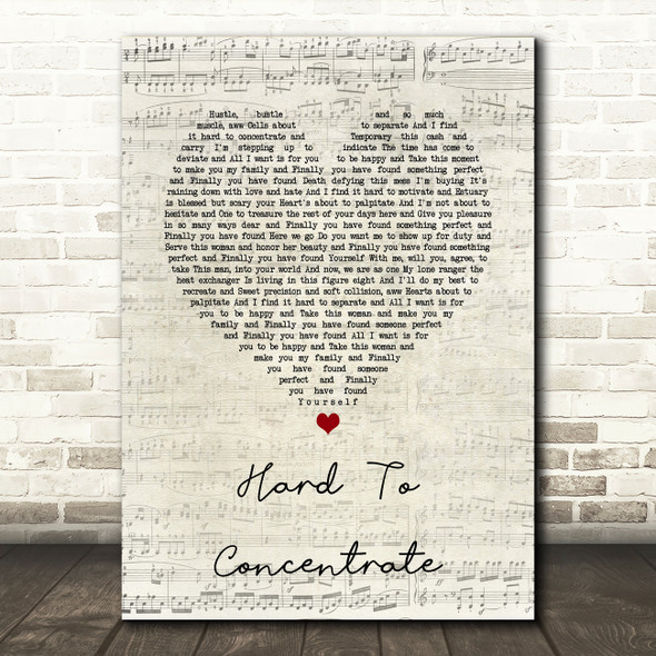 Red Hot Chili Peppers Hard To Concentrate Script Heart Song Lyric Print
