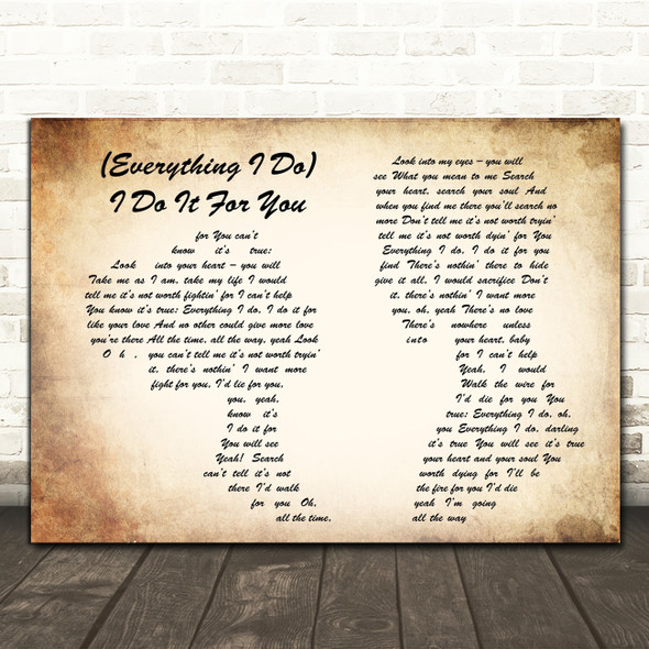 Bryan Adams Everything I Do I Do It For You Man Lady Couple Song Lyric Quote Print