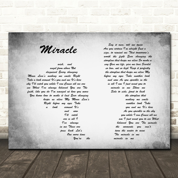 Shinedown Miracle Man Lady Couple Grey Song Lyric Quote Print