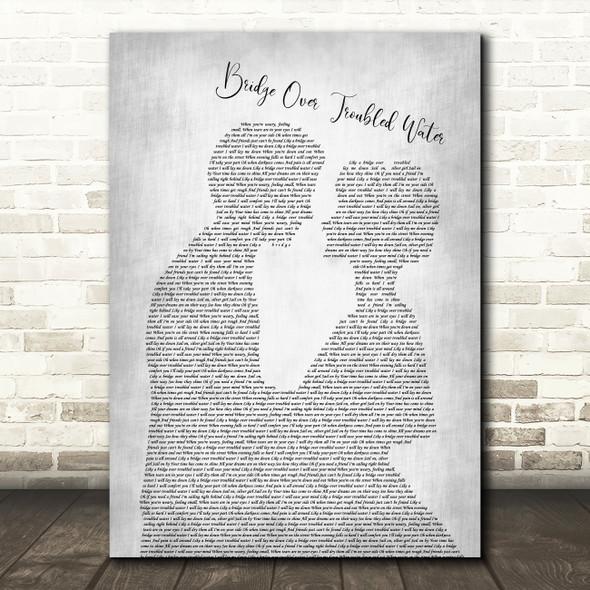 Simon & Garfunkel Bridge Over Troubled Water Man Lady Grey Song Lyric Print