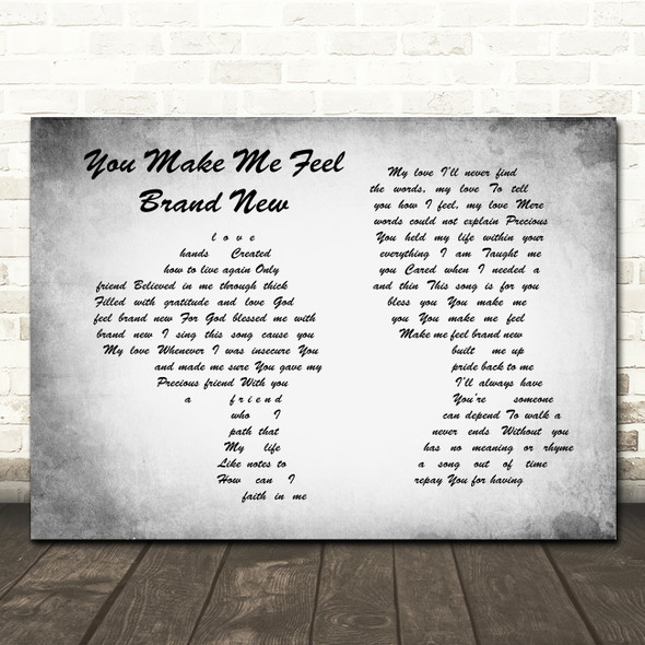 Simply Red You Make Me Feel Brand New Man Lady Couple Grey Song Lyric Print
