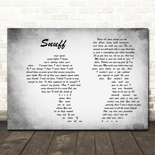 Slipknot Snuff Man Lady Couple Grey Song Lyric Quote Print
