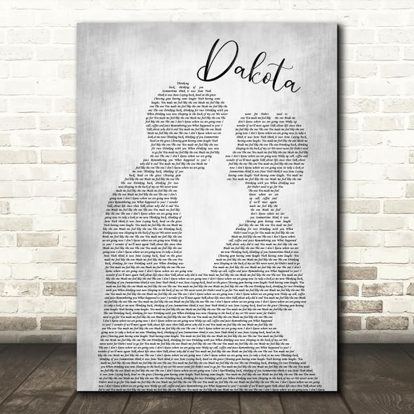 Stereophonics Dakota Man Lady Bride Groom Wedding Grey Song Lyric Quote Print